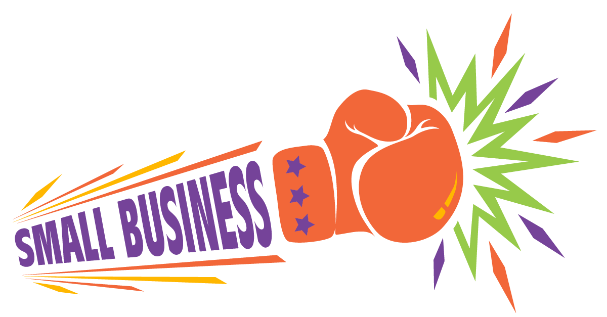 illustration of the words small business punching with a boxing glove