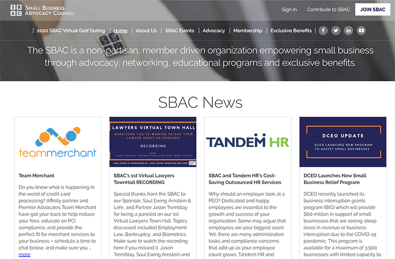 the sbac website home page